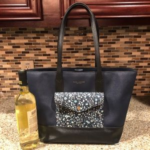 Marc Jacobs navy and black floral pocket tote